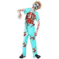 Smiffys Disfraz de cirujano zombi, Azul, con pantalones manchados de sangre, parte de ar