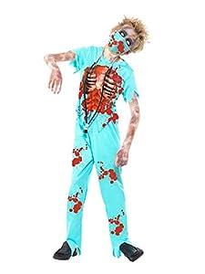 Smiffys-44032L Disfraz de cirujano zombi, con pantalones manchados de sangre, parte de ar, color azul, L-Edad 10-12 años (Smiffy