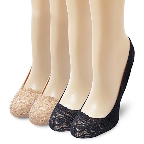 Ambielly Frauen Leichte Silikon Heel Grip Non-Skid Spitze Socken (4 Paare / Set) (Spitze socken) (Keine Aqua Füßlinge)