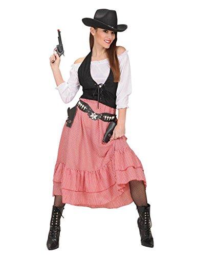 Wildwest Damenkostüm Cowgirl weiss schwarz rot S