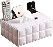 Gooder PU Leather Rectangular Tissue Box Cover Multi-Functional Tissue Box Holder with Stationery Remote Contr