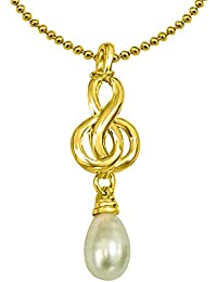 Surat Diamonds Drop Shaped Real Pearl & Gold Plated Pendant With Chain For Women (SDS151P)