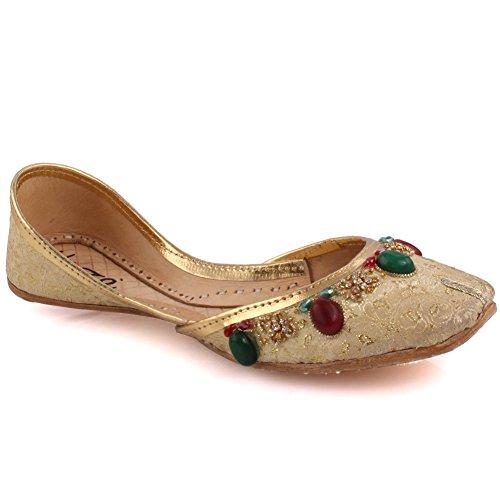 Unze Neue Frauen Traditionelle 'Garnet' Handgefertigte Leder Flache Khussa Pumpe Hausschuhe Schuhe UK Größe 3-8 - Un-11 Gold