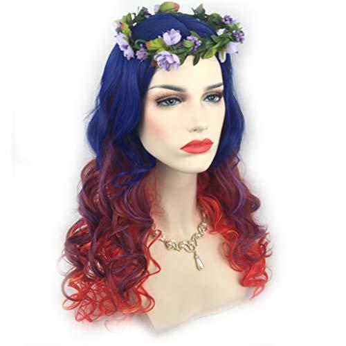 YZ-YUAN Perücke Haarteil Bunte Lange Lockige Hitzebeständige Weibliche Halloween Cosplay Kopfbedeckungen