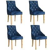WT Trade 4er-Set Design Esszimmerstuhl SAMT-Bezug Blau | Küchenstuhl Essstuhl Polstersessel | mit massiv Eiche-Holzrahmen | barock Vintage Polsterstuhl | Sessel mit Armlehnen Antik