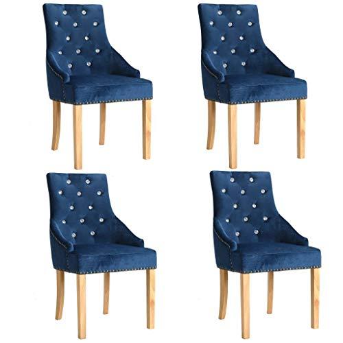 WT Trade 4er-Set Design Esszimmerstuhl SAMT-Bezug Blau | Küchenstuhl Essstuhl Polstersessel | mit...