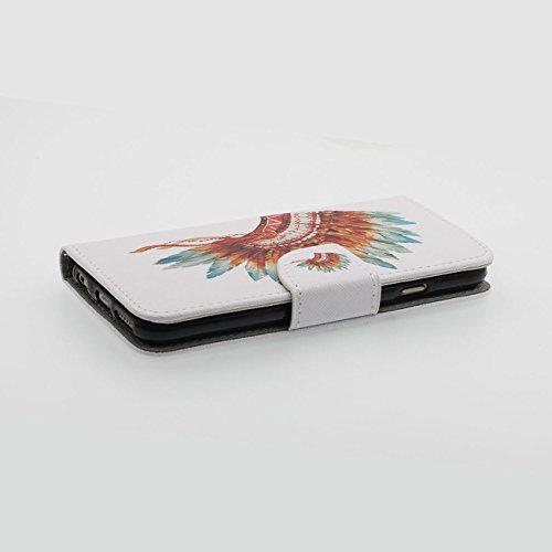iPhone 6S Plus Portefeuille Bourse Rabat Coque Case de Protection Fille Style, Joli Imprimé Peinture PU Cuir Carte Étui de Protection pour Apple iPhone 6 Plus 5.5 inch blanc-1