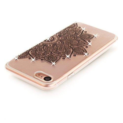 Case iPhone 7 , Coque iPhone 7 , Anfire Étui Souple Flexible en Premium TPU Apple iPhone 7 (4.7 pouces) Motif Fleur de Paon Ultra Mince Gel Silicone Cas Bling Bling Strass Clair Transparent Housse de  Rose Rouge