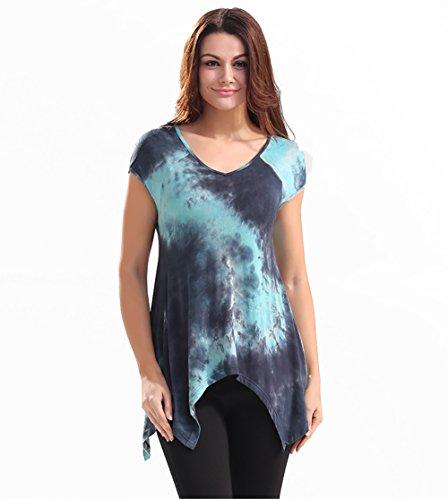 Ärmel Eleganz Show Shirt (Good dress Unregelmäßige Kurzarmhemd loser Saum V-Ausschnitt T-Shirt,Foto Color,S)