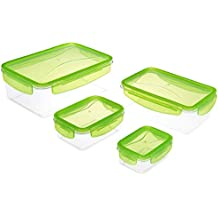 Solimo Rectangular Container Set, 4.1 Litre, Set of 4, Green