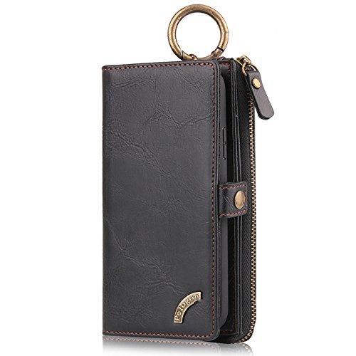 """HARRMS Apple iPhone 6/6s(4,7\"""") Case Leder Handyhülle Handytasche mit Kredit Kartenfächer Geldscheinfach mit Reißverschluss abnehmbar Magnet Handy Schutzhülle,Schwarz"""