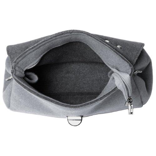CASPAR Damen Tasche Filztasche mit kurzem Henkel und Schultergurt MADE IN ITALY - viele Farben - TS588, Farbe:grau CASPAR Fashion