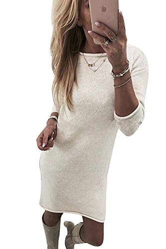ZIOOER Damen Pulli Pullover Rock Longshirt Kleider Winterkleider Hemd Kleid Strickkleider Langarm Mode Stricksweat Strickpullover Lose Sweatkleid Minikleid Weiß M