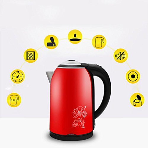 Fashion Red Home Electric Kettle Food Grade 304 Stainless Steel Kettle Insulation Kettle Portable Kettle Automatic Electric Kettle Kitchen Kettle(15*26cm),1.7L