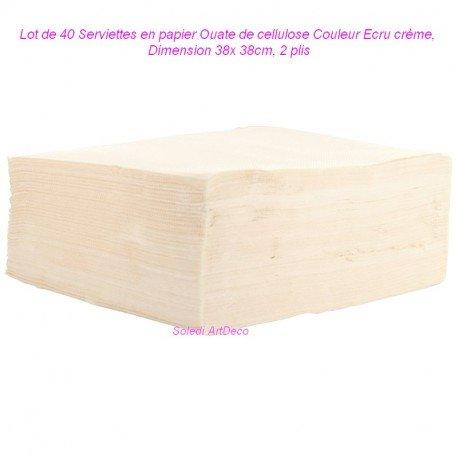 Pack of 40Colour Ecru Cream, 38x 38cm Cellulose Wadding, 2Ply Paper Napkins