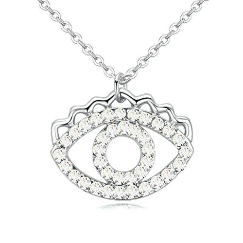 AooazDamenVergoldetHalsketteAnhängerHalskette Hohl Augen Weiß Kristall Anhänger CZ Halskette (Kostüme Elfen Weibliche)