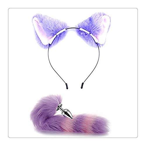 �?e Fell Katze Ohren Stirnband tragen und Metall Fox/Dog Tail f¨¹r Cosplay Kost¨¹m Dress up (lila) ()