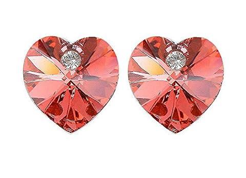 AVILADY Boucles d'oreilles Coeur ailé plaqué or blanc 18k et cristaux Swarovski Elements (Rouge rubis) Livré dans son écrin avec son certificat