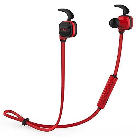 Bluedio CCK Bluetooth 4.1 Drahtloser Kopfhörer Stereo Sport Running Gym Übungen Headsets Kopfhörer Freisprecheinrichtung Calling Car Earbuds (Rot)