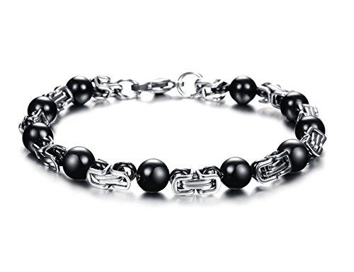 Gioielli da uomo in acciaio inossidabile nero perline braccialetti Personalized