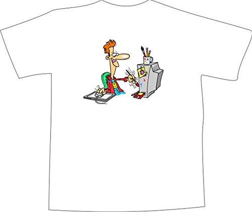 T-Shirt E1268 Schönes T-Shirt mit farbigem Brustaufdruck - Logo / Grafik / Design - verrückter Grafiker mit Computer und Pad Schwarz