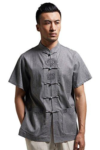 Insun Herren Leinen Hemd Handgefertigte Stickerei Tai Chi Hemd mit chinesischen Frosch Knoten Tasten Dunkel Grau