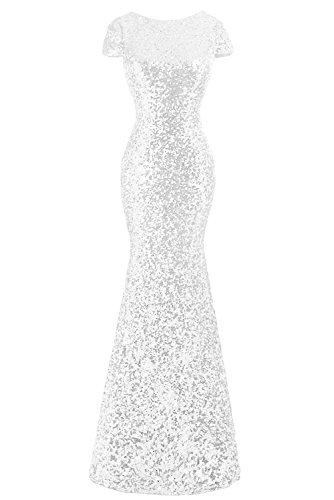 Gorgeous Bride Hochwertig Kurz Aermel Meerjungfrau Paillette Lang Mit Schleppe Abendkleider Cocktailkleid Ballkleider Weiß