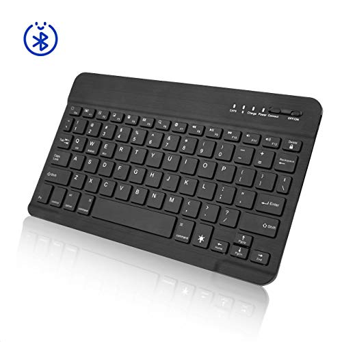 7-Inch Mini Wireless Bluetooth Keyboard with Portable Rechargeable Compatible with All iOS,Mac,iPad,iPhone,Smart TV Samsung Tablets Phones Windows and Android OS -Black