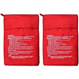 momoland Set di 2 sacchetti per microonde, patate, fornello e patate, ideali solo in 4-6 minuti, colore: rosso