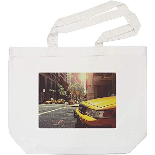 Azeeda 'New Yorker Taxis' Weiße Einkaufstasche (BG00006043)