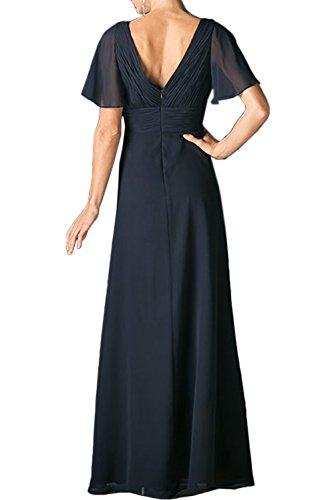 Sunvary Damen V-Neck Chiffon Kurzarm Blumen Abendkleider Lang Ballkleider Partykleid Grün