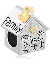 Uniqueen - Abalorio de diseño de casa familiar de plata compatible con pulseras Pandora, Chamilia & Troll.