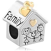 Uniqueen familia casa madre Padre niño junto barato Charm Beads Fits Pandora, Chamilia & troll pulseras