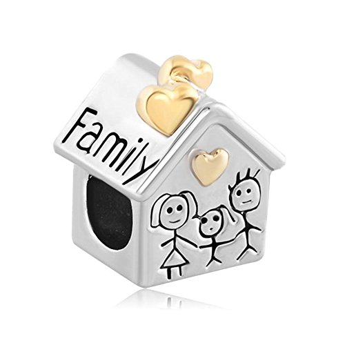 Uniqueen Family House Mother Father Child Together Cheap Charm Beads fits pandora, chamilia & troll Bracelets