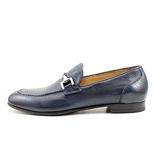 GIORGIO REA Chaussures Homme Bleu Mocassins Mâle Main Italiennes, Cuir, Élégant, Classique, Oxford Classic Shoes