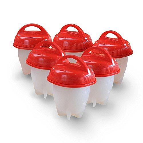 Egg Cooker Huevo Cocina Cocedor sin la Cáscara sin BPA, Salud y Seguro( Rojo * 6 Pcs) (Rojo)