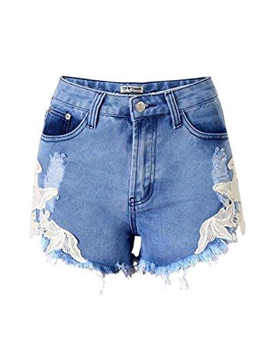 Denim Shorts Damen Spitze Stitching Vintage Quaste Hotpants Zerrissen Kurze Destroyed Denim Hosen Als Bild