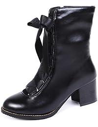 Easemax Damen Einfach Mittler Schaft Samt Schlupfstiefel Stiefel mit Absatz Schwarz 47 EU s0Il8