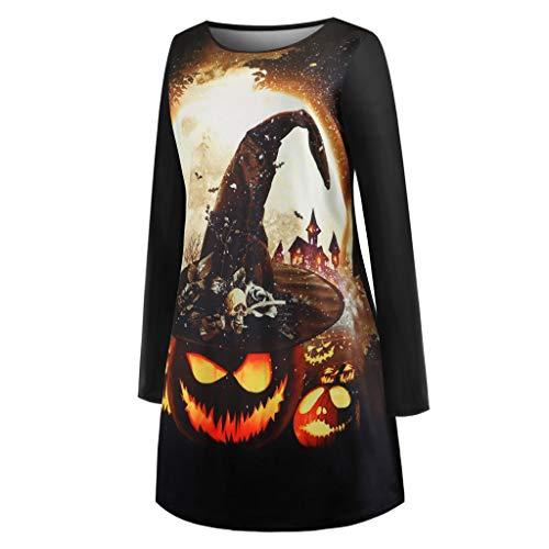 DaySing Robe Costume d'halloween MariéE, TrapèZe ImpriméE à Manches Longues pour FemmesJupe Longue Noire Col Rond Haut LâChe Confortable SorcièRe De DéCoration d'halloween