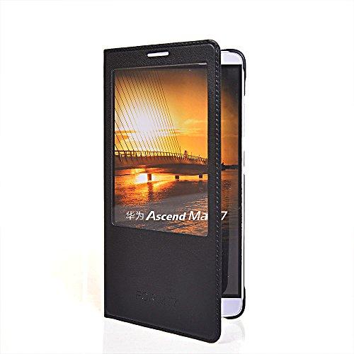 Ascend Mate 7 Hülle,COOLKE [Schwarz] Flip Cover für Huawei Ascend Mate 7 dünn Schutzhülle Hülle Schutzschale Schale Handytasche Tasche Etui Case