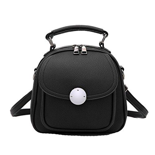Damen PU Handtasche Wilde Schultertasche Diagonale Paket Einfache Mode Handtaschen Black