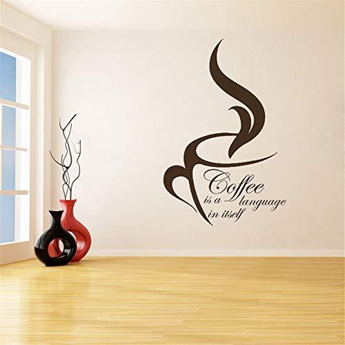 lyclff Kaffee ist eine Sprache Tasse entfernbare wandaufkleber für Kaffee Haus oder küche Vinyl wasserdicht abziehbilder Wohnzimmer ~ 1 37x57 cm