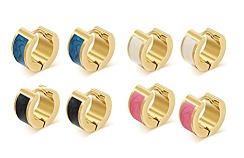 Vnox 4 pairs Men's Women's Stainless Steel Gold Higgie Huggy Small Hoop Earrings with Colorful Enamel,Clip on