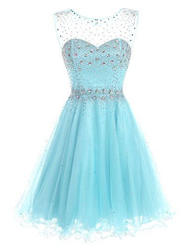 Sarahbridal A-line Short Prom Dress with Tulle Sheer Neck SAJ032 Sky Blue UK 8 (Blue Sky Crystal Lined)