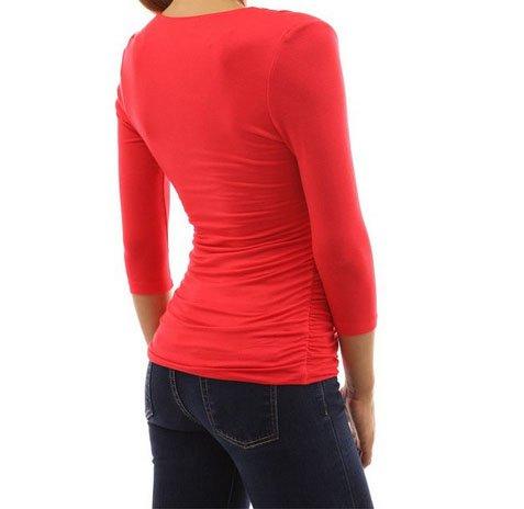 ACVIP Femme T-Shirt à Manche 3/4 Col V Froncé Sexy Chemise Elastique, 4 Couleurs Rouge
