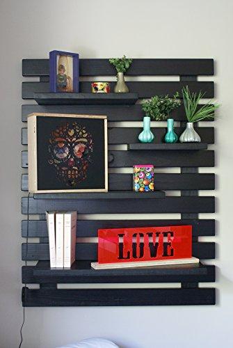 Liza line libreria da parete (nero) stile vintage, libreria a giorno con 4 ripiani regolabili in vero pino massello, ideale per corridoio, cucina, salotto, bagno, camera. 101x80x21 cm