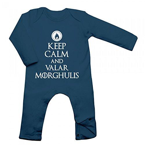 Keep Calm and Valar Morghulis Babybody | Grillen | Barbecue | BBQ | Langarm | Langärmliger Strampler, Farbe:Blau (Nautical Navy BZ13);Größe:12-18 Monate -