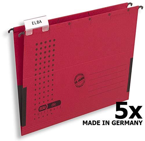 ELBA 100560145 Hängetasche chic ULTIMATE 5er Pack aus Recycling-Karton für DIN A4 mit Leinenfröschen in rot - ideal für die lose Blatt-Ablage im Büro und der Behörde -