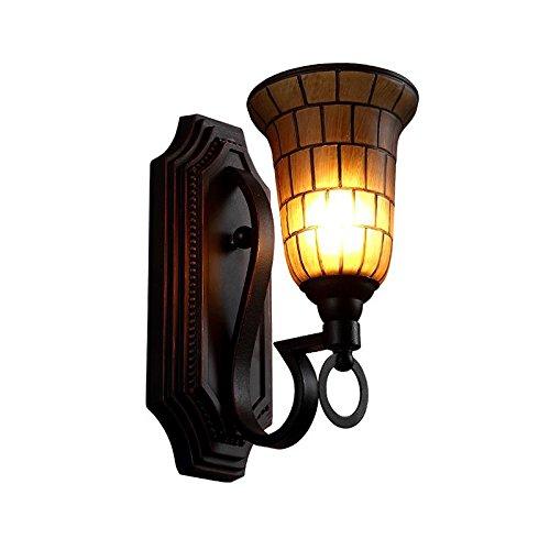 Lwyjrbd applique/lampada da parete/applique da parete in stile soggiorno applique da parete vento camera da letto comodino in vetro ferro battuto applique da parete, luce calda