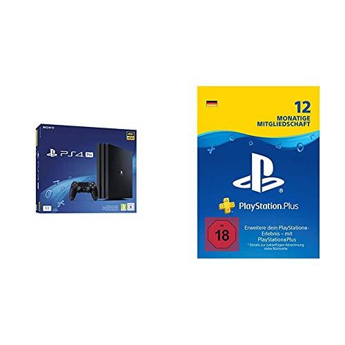 PlayStation 4 Pro - Starter Pack: PS4 Pro Konsole (1TB) + PS Plus Online Mitgliedschaft (12 Monate)
